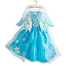 2019 Children Girl Snow Blue Dress For Girls Prom Princess Dress Kids Baby Gifts Intant Party Clothing Fancy Teen Clothing girls dress summe children s clothing party princess baby kids girls clothing lace wedding dresses prom long dress teen costume