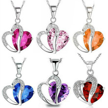 Crystal Jewelry Colorful Necklaces Fashion-Style Women Heart Top-Class Girls Hot-Sell