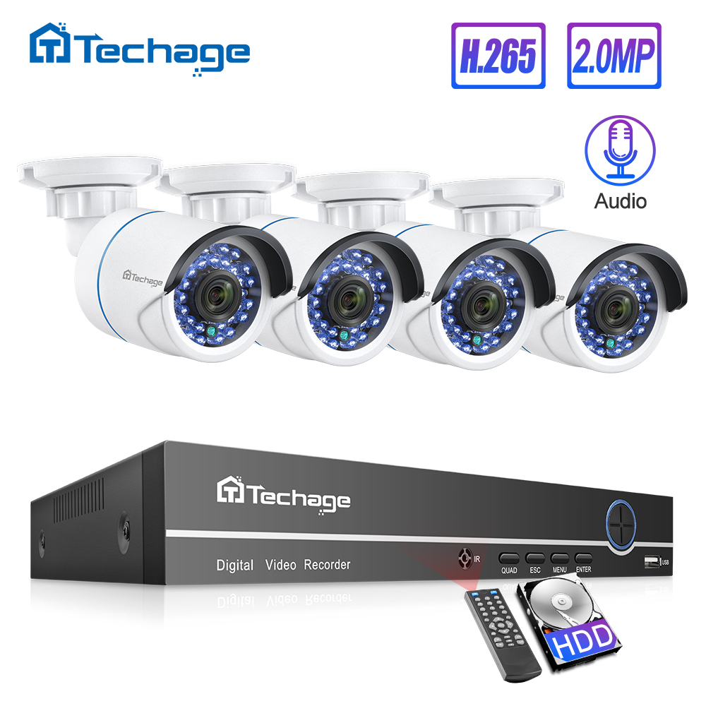 Techage H.265 8CH 1080P POE NVR Kit CCTV System 2MP Audio IP Camera IR Outdoor P2P Onvif Video Security Surveillance Set 1TB HDD