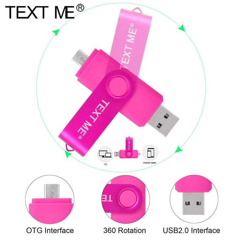 USB-флеш-накопитель TEXT ME, OTG, высокоскоростной накопитель 3 в 1, USB Тип C, 32 ГБ, 16 ГБ, 8 ГБ, 4 ГБ, 64 ГБ, внешнее хранилище, двойное приложение Mi