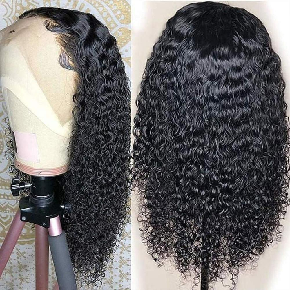 Black Long Curly Lace Wigs With Baby Hair For Women 13x4 Kinky Curly Hair Synthetic Lace Front Wigs Heat Resistant Fiber