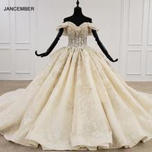 HTL1277 2020 새로운 볼 가운 웨딩 드레스 아가씨 칼라 어깨 위로 레이스 위로 디자인 웨딩 드레스 vestido de noiva