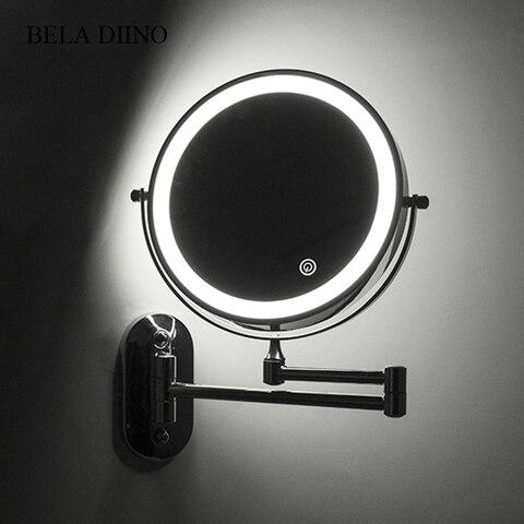 8 ampliacao led luz espelho de maquiagem 10x ampliacao dobravel tela sensivel ao toque do