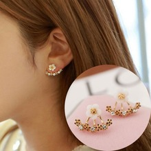 Korean cute flower womens earrings fashion crystal imitation plant sweet stud / 2018