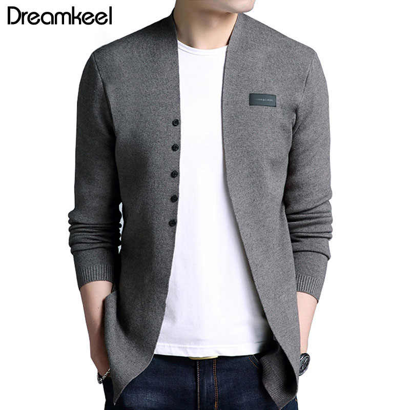 Sonbahar saf renk hırka erkek kazak marka 2018 sıcak satış orta uzun uzunluk erkek katı kazak hırka siper erkek rahat X