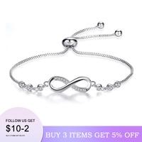 Pulsera Infinity para hombre y mujer, brazalete de diamantes de imitación, joyería para brazaletes de mujer