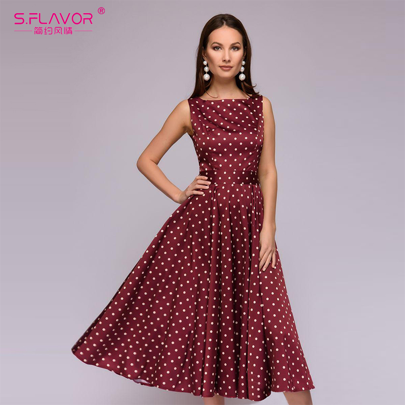 S.FLAVOR Elegant Retro Dot Printing Dress Fashion Women O-neck Sleeveless Casual Dress Women Wave Point Vestidos De