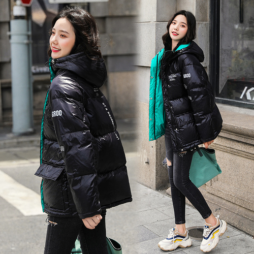 2019 White Duck   Down     Coat   Winter   Down   Jacket Woman Hooded Bread Clothes Loose Casual Korean Version Fashion   Coats   Designer