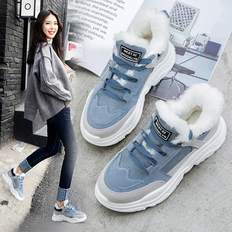 2019 Sapatos Plataforma Mulher Botas de Neve de Pelúcia Inverno Quente Do Sexo Feminino Casual Tênis de Couro da Camurça do Falso Fêmea Snowboots Quentes Sapatos De Pele