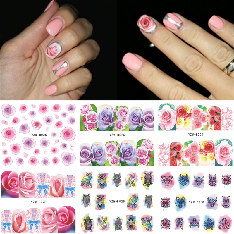 Yzw Six-in-One Nail Sticker Hot Selling Nail Ornament South Korea Manicure Stickers Exquisite Fashion Watermark Nail Sticker
