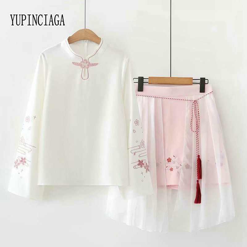 YUPINCIAGA Women's Two Piece Sets Literary Style Mesh Skirt Floral Eembroidery  Long Sleeve Blouse And Mesh Skirt Clothing Set