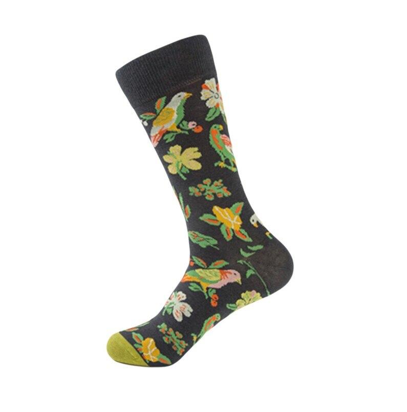 Jaycosin 1 пара, Новое поступление, женские носки, Harajuku, креативные хлопковые носки с принтом цветов и птиц, забавные повседневные Модные счастливые носки|Носки|   | АлиЭкспресс