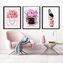 Watercolor Fashion Paris Perfume Flower Nordic Posters and Prints Wall Art Canvas Painting Wall Pictures For Living Room Decor fashion paris perfume red lips flower wall art canvas painting nordic posters and prints wall pictures for living room decor