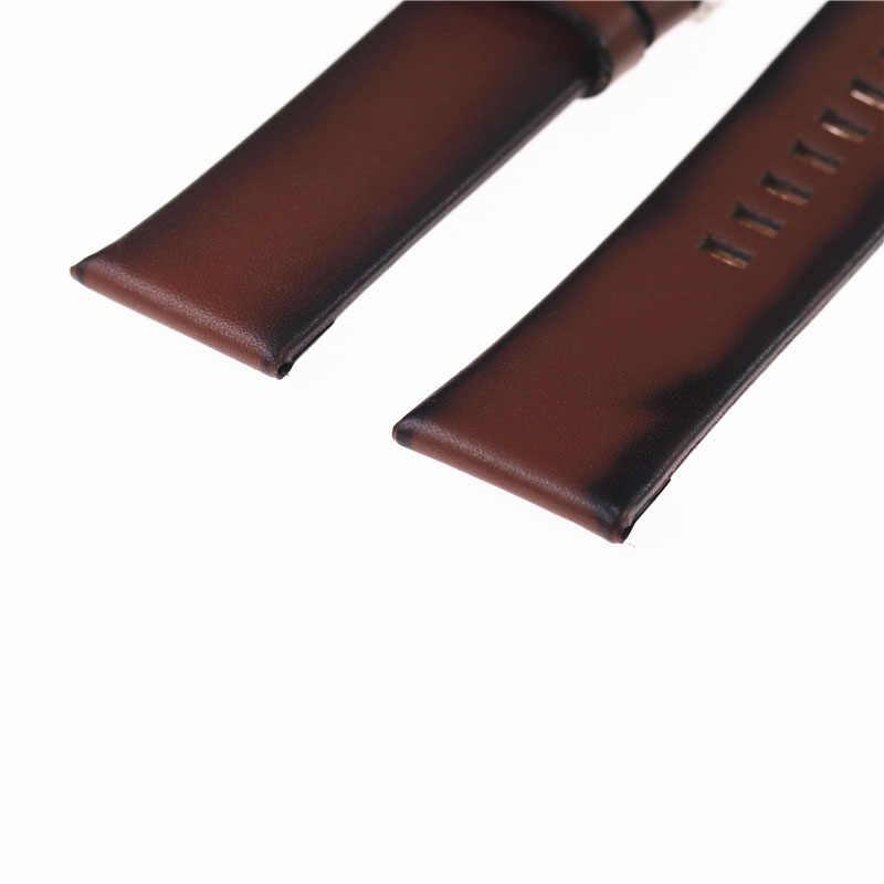 26 مللي متر عالية الجودة حزام من الجلد ل الديزل حزام ساعة اليد الفرقة سوار مع مشبك سلسلة الجلود البني
