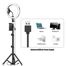 26cm/10 inch LED Ring selfie studio Light 10 Levels Dimmable with Tripods Phone and Tablet Holders for Makeup YouTube Video Lamp