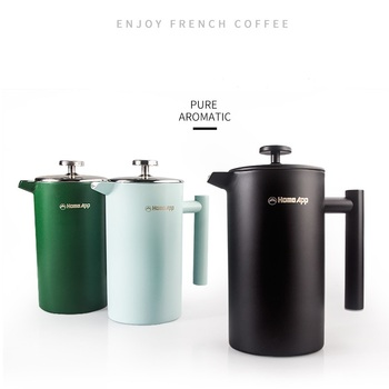 1000ML French Press Coffee Maker Stainless Steel Coffee Percolator Pot,Double Wall & Large Capacity Manual Coffee Containers