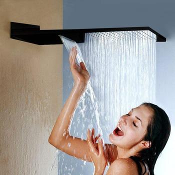 Black 16 Ultrathin Stainless steel 304 Waterfall & Rainfall Shower Head Square Wall Mounted Sprayer