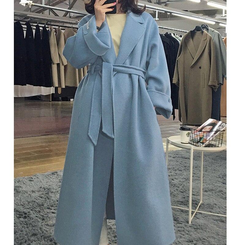 2019 Korean Winter High End Belt Loose X-Long Plus Size Hand-sewn Double-sided Wool Coat Women New Loose Bathrobe-style Jacket