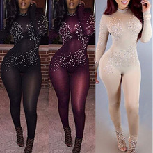 New Sexy Night Party Club Women Black Lace Sheer Mesh Jumpsuit Casual Rhinestone Long Sleeve Bodycon Rompers Female Overalls