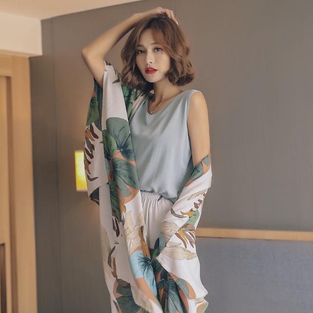 New Autumn Women Pajamas Cardigan+Vest+Pants+Shorts Satin 4 Pcs Set Floral Printing Sleepwear Elegant Tender Home Clothes