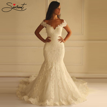 SERMENT Elegant Lace Mermaid Wedding Dress Floral Print Up Church Suitable for Africa Europe Americas Bride