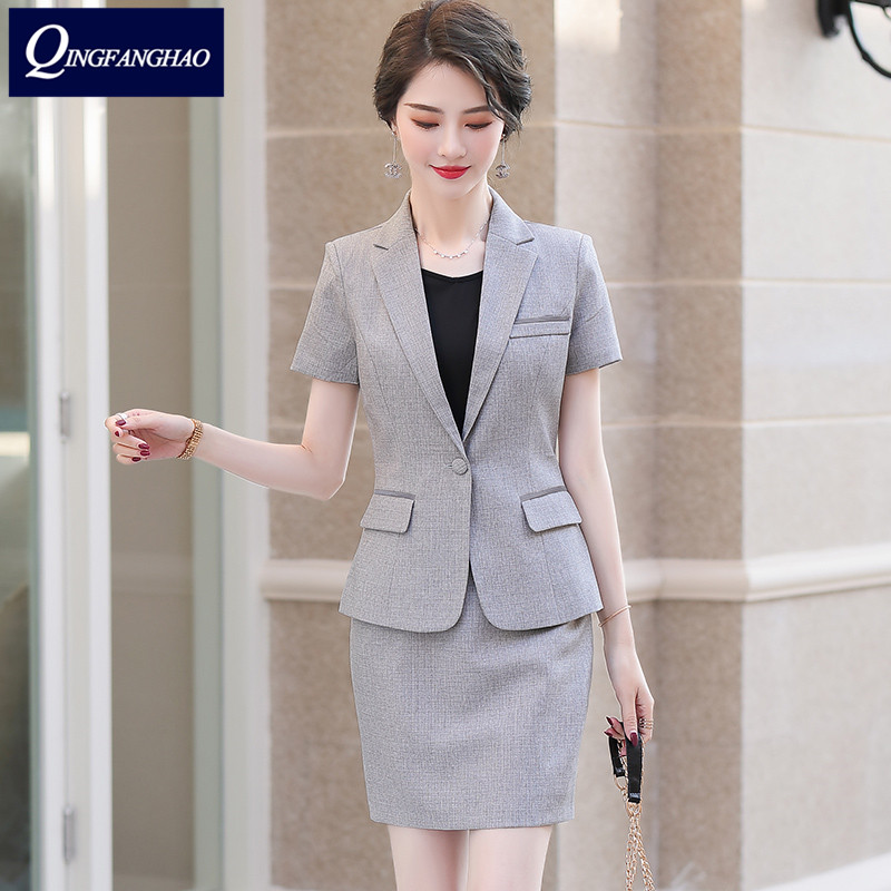 2020 summer new short-sleeved suit temperament slim professional wear female suit office jewelry store beauty workwear