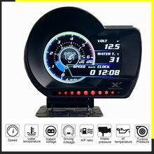 LUFI XF angielska wersja OBD2 cyfrowy turbo boost ciśnienie oleju wskaźnik temperatury dla samochodu Afr RPM poziom paliwa prędkość EXT miernik oleju