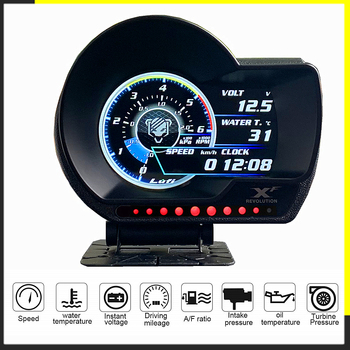 LUFI XF English Version OBD2 digital turbo boost oil pressure temperature gauge for car Afr RPM Fuel level Speed EXT Oil Meter image