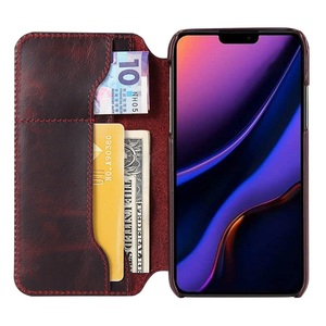 Image 4 - Solque Genuine Leather Flip Book Case For iPhone 11 12 Pro Max Mini Phone Cover Luxury Retro Vintage Card Holder Wallet Cases