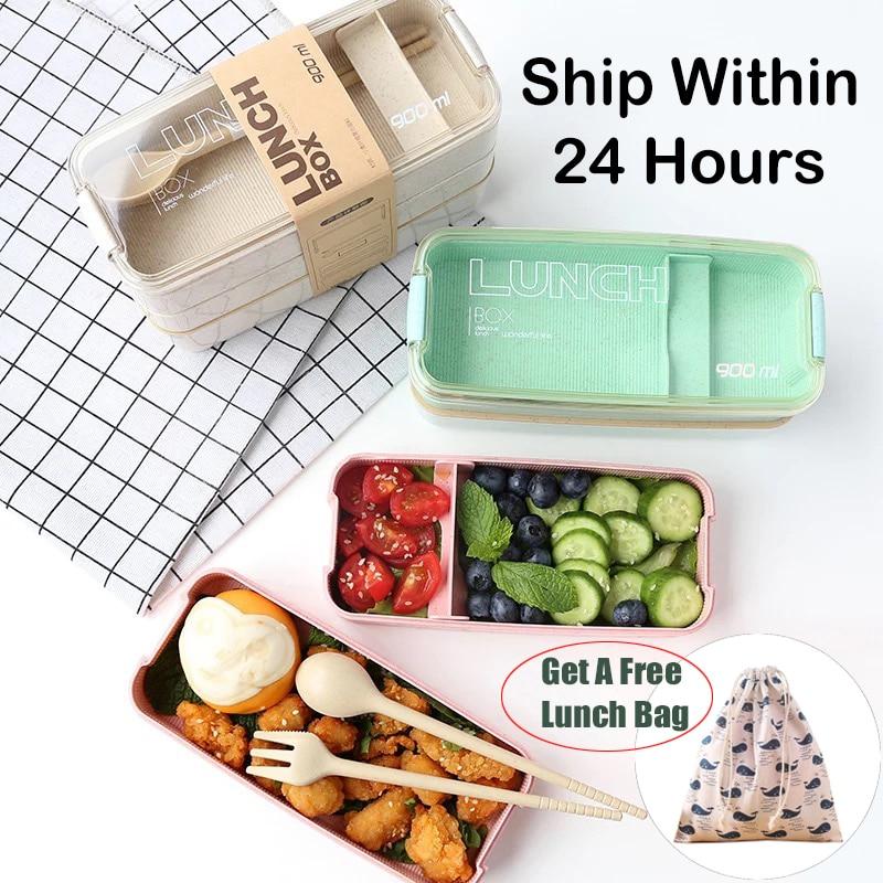 900 Ml Portable Bahan Sehat Kotak Makan Siang 3 Lapisan Jerami Gandum Bento Kotak Microwave Makan Makanan Penyimpanan Wadah Foodbox title=