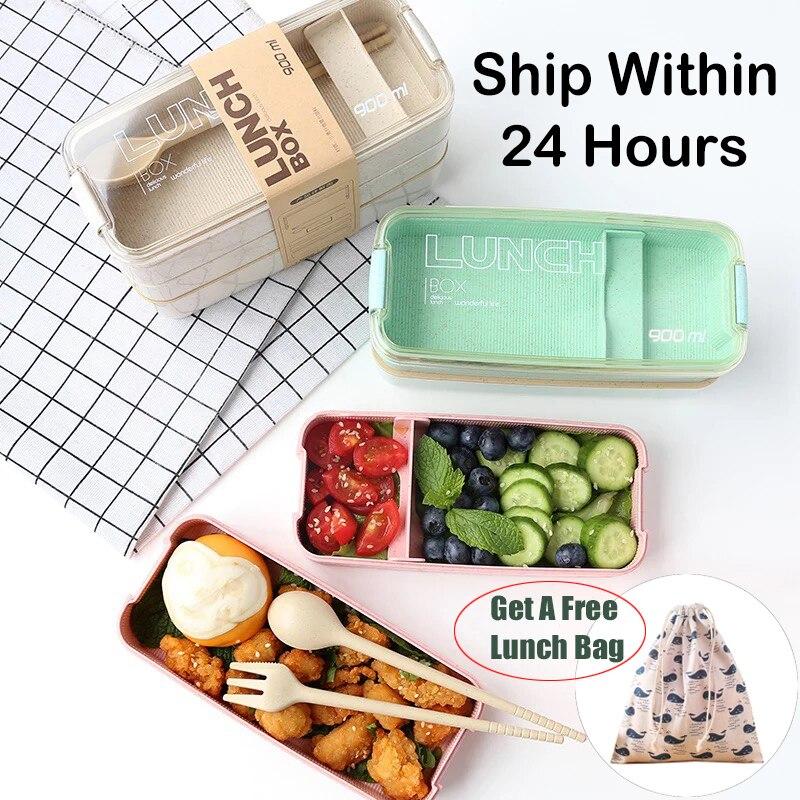 Fiambrera portátil de 900ml, caja de 3 capas, cajas de bento de paja de trigo, microondas, vajilla, contenedor de almacenamiento de alimentos, caja de comida