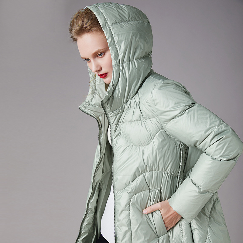Waterproof Down Coat Women Thick 90% White Duck Down Zipper Hooded High-quality Women's Down Jacket Long Outwear Green