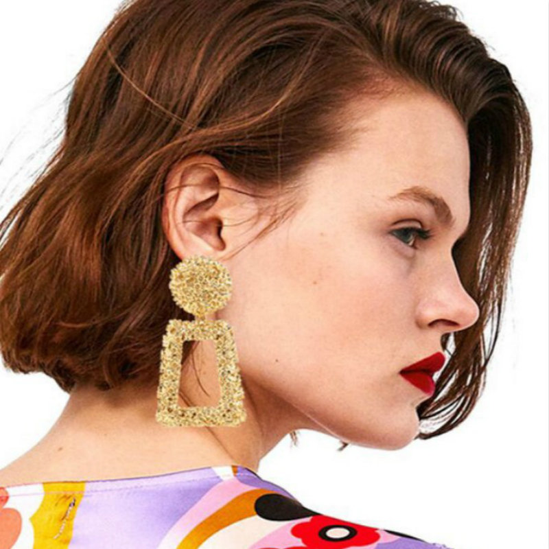 2019 Newest Big Vintage Earrings for Women Gold Color Geometric Statement Earring Metal Earing Hanging Fashion Jewelry Trend in Drop Earrings from Jewelry Accessories