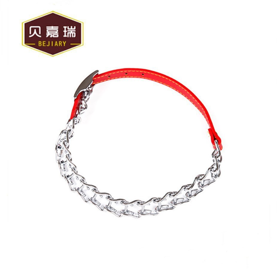 Bay Jiarui Hot Selling Recommended Electroplated Iron Chain Plus Pu Hide Substance Pet Dog Collar Pet Supplies