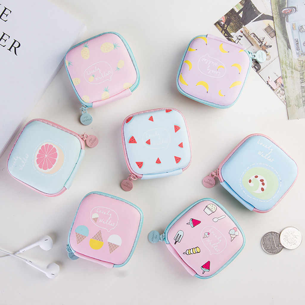 Mini Storage Bag Home Fresh Style Cartoon Pattern Portable USB Cable Earphone Storage Bag Girls Coin Sanitary Napkin Organizer
