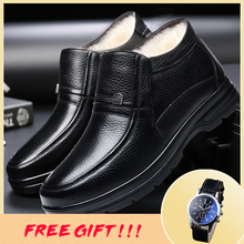 36~48 natural wool winter boots men warmest comfortable leather men winter shoes #HQN8812