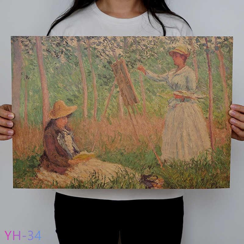 Nieuwe Van Gogh Monet Olie Poster Vintage Klassieke Kraftpapier Poster Schilderij Muurstickers Home Decoratieve YH-31-42