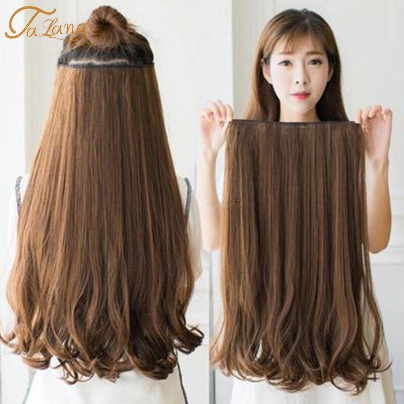 Talang 60cm 5 grampo na extensão do cabelo resistente ao calor falsos hairpieces ondulados longos penteados sintético grampo em extensões do cabelo