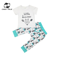 Baby Boy 0-2Y Summer Newborn Infant Girl Clothes Set Little Dreamer Animal T-shirt Tops+Pants Outfits Clothes Baby Clothing Set цена в Москве и Питере