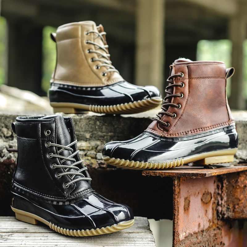 STS femmes bottes dame canard botte avec fermeture éclair imperméable à l'eau en caoutchouc semelle femmes bottes de pluie à lacets cheville chaussures fourrure hiver femmes chaussures