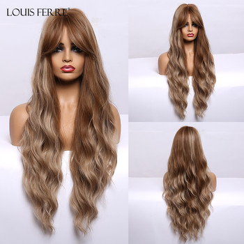 LOUIS FERRE Brown Blonde Mixed Wigs with Bnags for Black Women Long Natural Wave Synthetic Party Heat Resistant Fibre - discount item  52% OFF Synthetic Hair