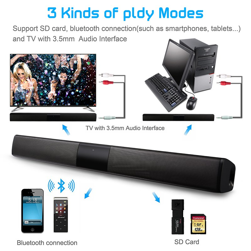 VTIN BS28B Wireless Bluetooth Soundbar Speaker TV Home Theater Soundbar Subwoofer with RCA 3D Stereo Surround Sound Speaker (36)