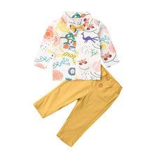 1-6T Toddler Kids Baby Girl Boy Clothes Dinosaur Long Sleeve Cute Cartoon Print Tops Shirt Pants Outfits Set
