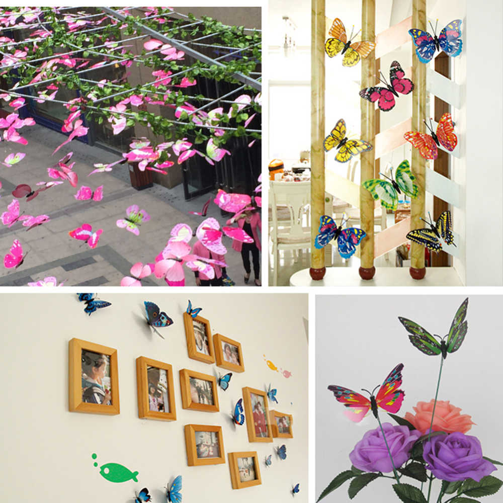 12 adet renkli 3D kelebek duvar Sticker mıknatıs PVC kelebekler düğün parti çocuk odası yatak odası buzdolabı sanat dekorasyon