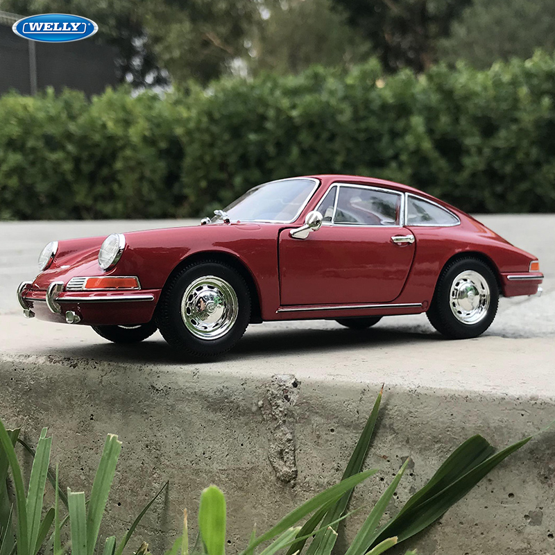 Welly 1:24 1964 Porsche 911-Red Car Alloy Car Model Simulation Car Decoration Collection Gift Toy Die Casting Model Boy Toy