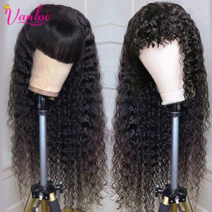 Vanlov Brazilian Water Wave Wigs With Bangs Remy Human Hair Wig For Black Women Full Machine Made Wigs Pre Plucked Natural Black