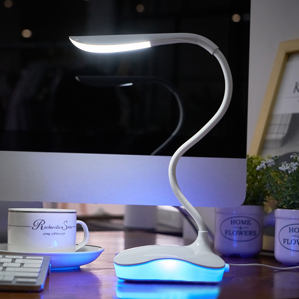Junejour LED Desk Lamp  Touch Usb 3 Level Dimmable Led Table Lamp Study Reading Light For Bedroom Night Light Book Light