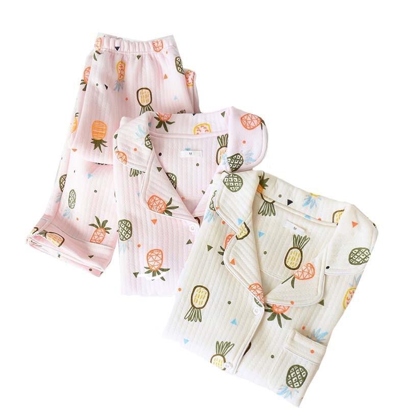 Autumn Winter Full Sleeve Air Cotton Ladies Warm   Pajamas     Set   2Pcs Turn-down Collar+Pants Homewear Comfort Loose Casual Wear