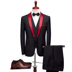 Mannen Pak 2019 Wedding Suits Voor Mannen Sjaalkraag 3 pieces Slim Fit Bourgondië Suit Man Royal Blue Tuxedo Jacket mannen Pakken