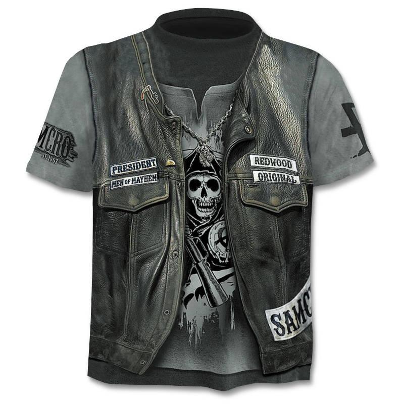 Men's 3D Skull T-Shirt Short Sleeve Terror Shirt 2019 Summer New T-Shirt 3D Funny  Punk Style Men's  Camisetta